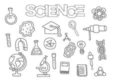 Science elements hand drawn set. Coloring book template.  Outline doodle Royalty Free Stock Photography