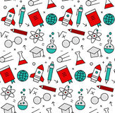 Science elements seamless icons pattern Stock Photography