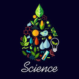 Science emblem in drop shape with symbols Stock Image