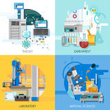 Science Equipment 2x2 Design Concept. Science laboratory 2x2 design concept with highly technological equipment for theoretical research and practical experiment Stock Image