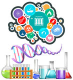Science equipment and icons Stock Photo