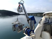 Research winch launching benthic grab to get sample from the sea bottom. Science equipment: research winch launching benthic grab to get sample from the sea Stock Photography