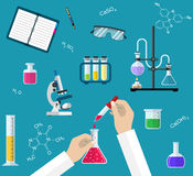 Science Experiment or chemistry laboratory concept vector illustration