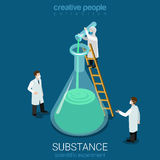 Science experiment new substance lab flat vector isometric 3d. Science experiment new substance discovery flat 3d isometry isometric chemical concept web stock illustration