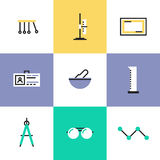 Science experiment pictogram icons set Stock Image