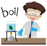 Science experiment and word boil. Illustration royalty free illustration