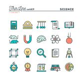 Science, experiments, laboratory, studies and more, thin line co vector illustration