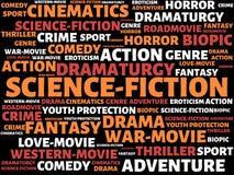 SCIENCE-FICTION - изображение при слова связанные с КИНО темы, слово, изображение, иллюстрация стоковое изображение rf