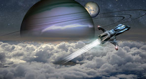 Science fiction. Shuttle coming out from a planet through clouds Royalty Free Stock Image