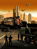 Science fiction. Classic science fiction image representing a spaceship base, with a shuttle on the quay, trucks and people moving around, and spaceships Stock Photography