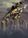 Science fiction. Image representing a spaceship and a shuttle flying over a futuristic city with the highest buildings emerging from the clouds Stock Images