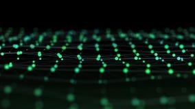 Science fiction abstracte videoachtergrond van gloeiende deeltjes met velddiepte en bokeh stock illustratie