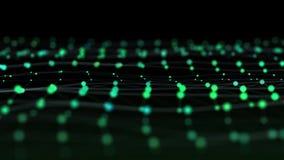 Science fiction abstracte videoachtergrond van gloeiende deeltjes met velddiepte en bokeh royalty-vrije illustratie