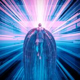 Science fiction angel. 3D illustration of futuristic angel floating in technological space Royalty Free Stock Photography