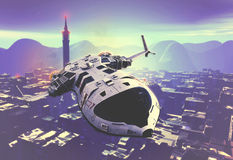 Science Fiction Background. With flying jet Royalty Free Stock Images