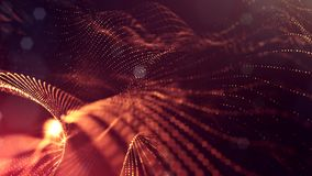 Science fiction background of glowing particles with depth of field and bokeh. Particles form line and abstract vsurface. Science fiction background of glowing Royalty Free Stock Photography