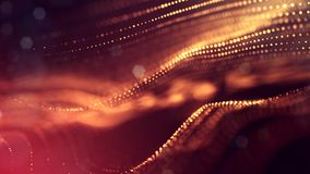 Science fiction background of glowing particles with depth of field and bokeh. Particles form line and abstract surface. Science fiction background of glowing Royalty Free Stock Photo