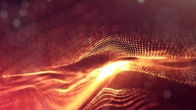 Science fiction background of glowing particles with depth of field and bokeh. Particles form line and abstract surface. Science fiction background of glowing Stock Images