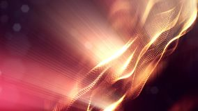 Science fiction background of glowing particles with depth of field and bokeh. Particles form line and abstract surface. Science fiction background of glowing Stock Photography