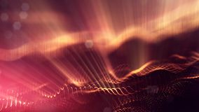 Science fiction background of glowing particles with depth of field and bokeh. Particles form line and abstract surface. Science fiction background of glowing Royalty Free Stock Photos
