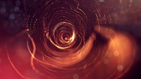 Science fiction background of glowing particles with depth of field and bokeh. Particles form line and abstract surface. Science fiction background of glowing Royalty Free Stock Photography