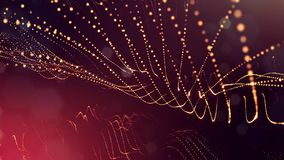 Science fiction background of glowing particles with depth of field and bokeh. Particles form line and abstract surface. Science fiction background of glowing Stock Photo