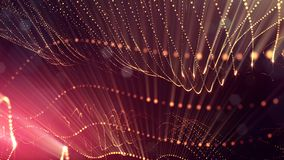 Science fiction background of glowing particles with depth of field and bokeh. Particles form line and abstract surface. Science fiction background of glowing Royalty Free Stock Images