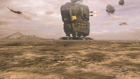 Science fiction battle scenery. In the desert Royalty Free Stock Images