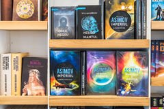 Science Fiction Books For Sale On Library Shelf. BUCHAREST, ROMANIA - MARCH 07, 2015: Science Fiction Books For Sale On Library Shelf Stock Photos