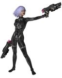 Science Fiction Catsuit Girl Shooting. Futuristic sci-fi girl with lilac hair, wearing a neural catsuit and holding two large guns, 3d digitally rendered Stock Image