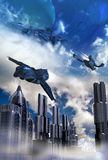 Science fiction city. Shuttles and spaceships flying in the sky, over a futuristic city, among clouds, with planets and satellites in the visible exterior space Stock Images