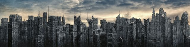 Science fiction city dystopia panorama royalty free illustration