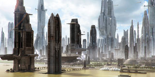 Science-fiction city landscape (matte painting) Stock Image