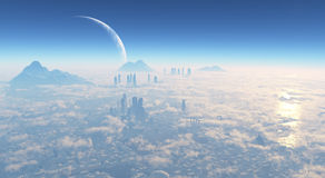 Science fiction city. City science fiction movie from the stratosphere royalty free illustration