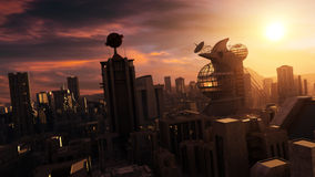 Science Fiction Cityscape Sunset Royalty Free Stock Photo