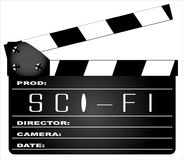 Science Fiction Clapperboard. A typical movie clapperboard with the legend SCIENCE FICTION isolated on white Royalty Free Stock Photos