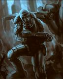 Science fiction commando is fighting. Freehand digital drawing cover royalty free illustration