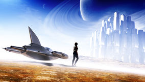 Science Fiction Concept Art. Science fiction cover / concept artwork with lots of elements. A single-seater sleek jet type of craft, a female character who is in Stock Photos