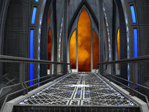 Science Fiction Fantasy Hallway Corridor Background Illustration Royalty Free Stock Photo