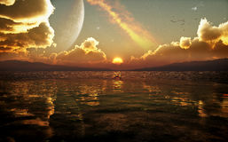 Science Fiction Fantasy Sunset. Ambient style image with vivid colors and science fiction / fantasy type elements. High quality and high resolution 3D Royalty Free Stock Photo