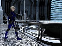 Science fiction female guard at the reactor core Royalty Free Stock Image