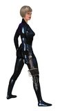 Science fiction female guard. Woman in sci-fi metallic reflective body armor carrying ray gun Royalty Free Stock Photo