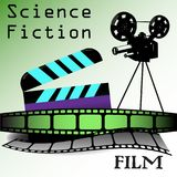 Science fiction film. Colorful background with clapboard, movie projector, film strips and the text science fiction written with black letters stock illustration