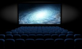 Science fiction film at movie theater. Science fiction film in empty movie theater with blue seats Stock Photography
