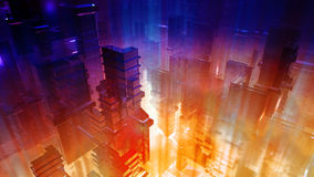 Science Fiction Futuristic City. A science fiction type of conceptual abstract city scenery with red, blue and green lights and highly detailed structure Stock Photo