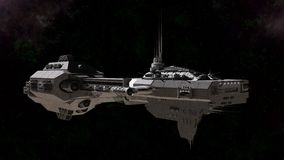 Science Fiction Gunship. In deep space, 3d digitally rendered illustration Stock Photography