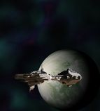 Science Fiction Gunship in Orbit Stock Image
