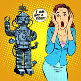Science fiction horror robot woman panic. Pop art retro style. Science and technology. Robotics and machines. The world of computing. Artificial intelligence Royalty Free Stock Photography