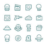 Science fiction icons set. Illustrations show the process of making contact with aliens. This icons could be used in any science-fiction related design project Stock Photo
