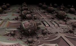 Alien Egg Farm Abstract Fractal Design. Science fiction illustration of a purple fractal alien egg farm design for textures, backgrounds and wallpapers stock illustration